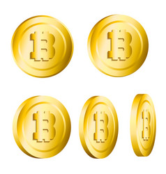 set of 3d realistic golden metallic bitcoins vector image