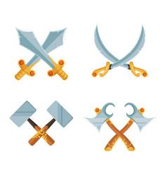 set of cartoon game design crossed sword vector image