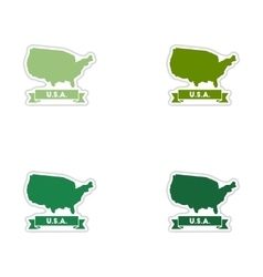 Set of paper stickers on white background united vector image