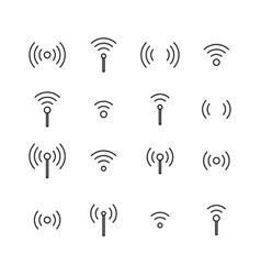 set of wireless icons from thin lines vector image