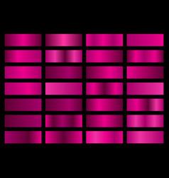 set pink metallic gradients swatches vector image