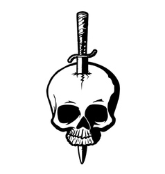 skull with dagger vector image