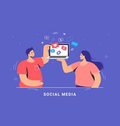 social media marketing and increasing audience vector image