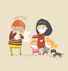Social worker with kids vector