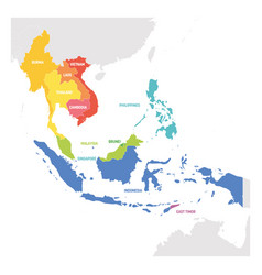 Southeast asia region colorful map of countries vector