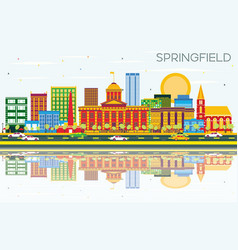 Springfield skyline with color buildings blue sky vector
