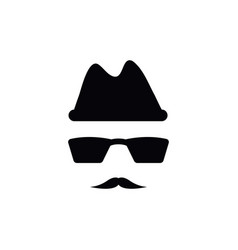 Spy with mustache icon design template isolated vector