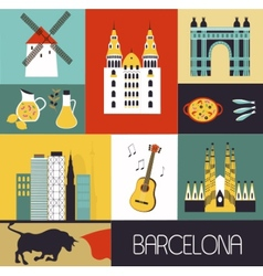 Symbols of Barcelona vector image