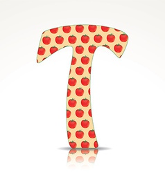 The letter T of the alphabet made of Tomato vector