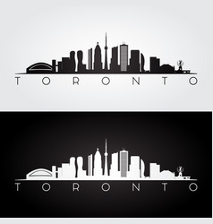 Toronto skyline and landmarks silhouette vector