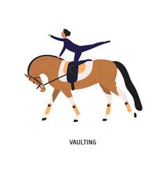 vaulting horse riding tricks flat vector image