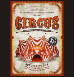 vintage circus poster with big top vector image