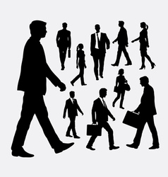 Walking people silhouettes vector