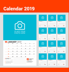 Wall calendar planner for 2019 year set of 12 vector