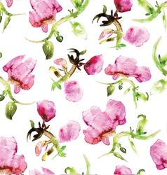 Watercolor seamless flower pattern vector