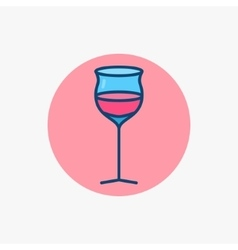 Wine glass colored icon vector