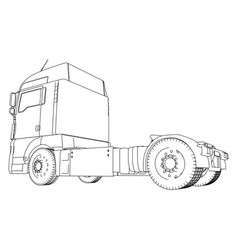 Wire-frame big truck isolated on white vector