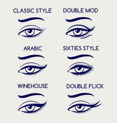 woman eyes makeup pen sketch vector image