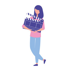 Woman holding clapperboard movie film vector