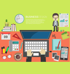 working place office desk concept in flat design 4 vector image