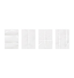 wrinkled paper realistic white empty poster vector image