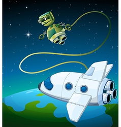 An aircraft and a robot at the outerspace vector image vector image