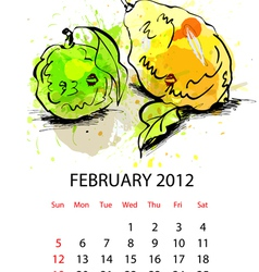 calendar for 2012 with fruit february vector image vector image