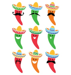Chili pepper in Mexican Sombrero hat with mustache vector image