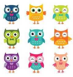 Isolated cartoon owls collection vector image vector image