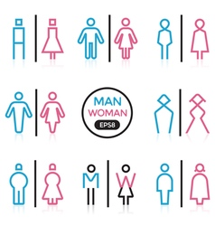 Man and Woman sign outline stroke vector image vector image