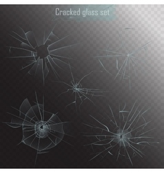 Set of different types of realistic broken glass vector image