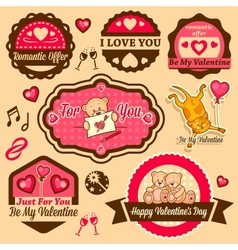 valentines day labels vector image vector image