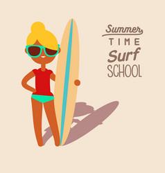 blonde surfing girl vector image