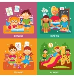 Kindergarten concept set vector image