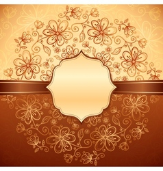 Lacy vintage flowers background with label vector image vector image