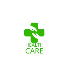 logo cross and hands health vector image