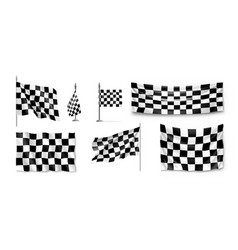 racing flags set realistic vector image vector image