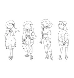 set with lovely cute fashion girls in vector image vector image