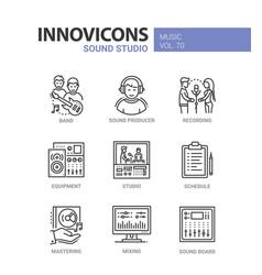 sound studio - line design icons set vector image vector image