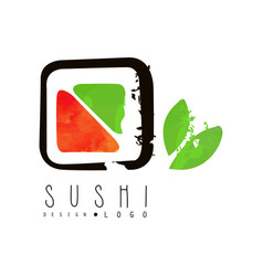 sushi logo design japanese food label badge for vector image vector image