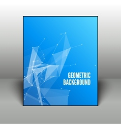 Abstract blue geometric background in black frame vector image vector image