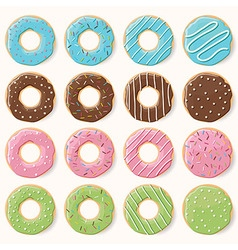 Collection of sixteen glazed colorful donuts vector image