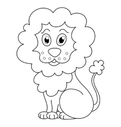 Curly cartoon lion with fluffy mane and kind vector