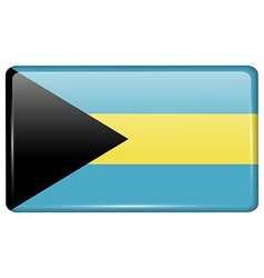 Flags Bahamas in the form of a magnet on vector image
