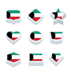 kuwait flags icons and button set nine styles vector image vector image