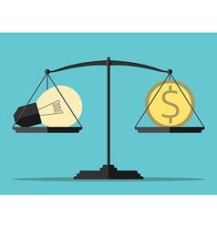 Light bulb money balance vector