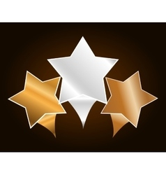 three metallic stars icon image vector image
