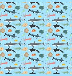 Cute fish seamless pattern vector