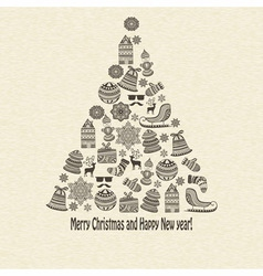 holiday Greeting Card with fir tree vector image vector image
