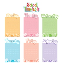School Timetable Monday To Saturday vector image